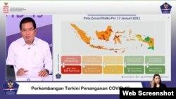 Jubir Satgas Penanganan Covid-19 Prof Wiku Adisasmito dalam telekonferensi pers di Graha BNPB , Jakarta, Selasa, 19 Januari 2021. (Foto: VOA/Ghita)