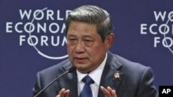 印尼總統蘇西洛星期天在雅加達發表演講