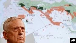 Jim Mattis li pêş nexşeya Îraq û Sûrîyê, li Pentagon'ê behsa têkoşîna dijî DAIŞ'ê dike.