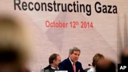 2014年10月12日美國國務卿約翰•克里在加沙捐贈國開羅會議上。