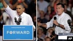바락 오바마 미국 대통령과(왼쪽), 미트 롬니 공화당 대통령 후보.