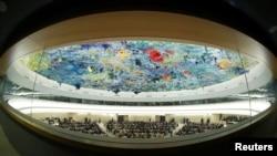 资料图:鱼眼镜头下的联合国人权理事会会议场景