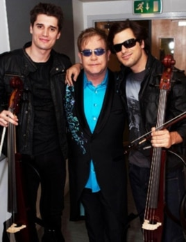 The duo, 2Cellos, with Sir Elton John