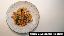 A dish made with mealworms and cooked by French chef Laurent Veyet