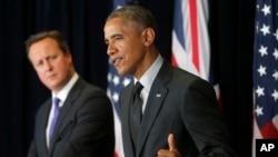 Britanski premijer Dejvid Kameron i predsednik Barak Obama na konferenciji za novinare u Briselu