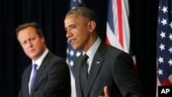 El presidente Barack Obama junto al primer ministro británico, David Cameron, en Bruselas.