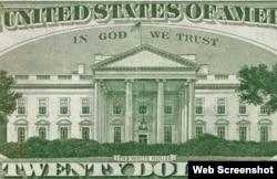 """20美元的纸币,上面印着""""我们信仰上帝"""""""