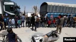 敘利亞首都大馬士革附近杜馬地上的導彈外殼。