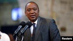 Kenya's President Uhuru Kenyatta delivers a speech during a ceremony at the All Saints Anglican Church in Nairobi, Kenya, Oct. 5, 2017.