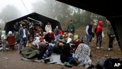 Sekelompok migran menunggu untuk menyeberang perbatasan antara Serbia dan Kroasia, sekitar 100 kilometer sebelah barat Belgrad, Serbia (18/10). (AP/Darko Vojinovic)