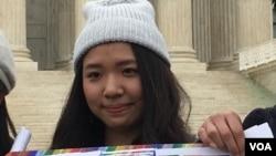 海外台灣人聲援婚姻平權華盛頓活動組織者林倢 (美國之音鍾辰芳拍攝)