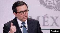 Ildefonso Guajardo, ministro de Economía de México habla con periodistas en la residencia presidencial de Los Pinos, en Ciudad de México. Mayo 1, 2018. REUTERS/Henry Romero - RC1479099DD0