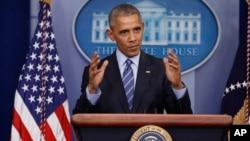 Presiden AS Barack Obama mengadakan jumpa pers akhir tahun di Gedung Putih, Jumat (16/12).