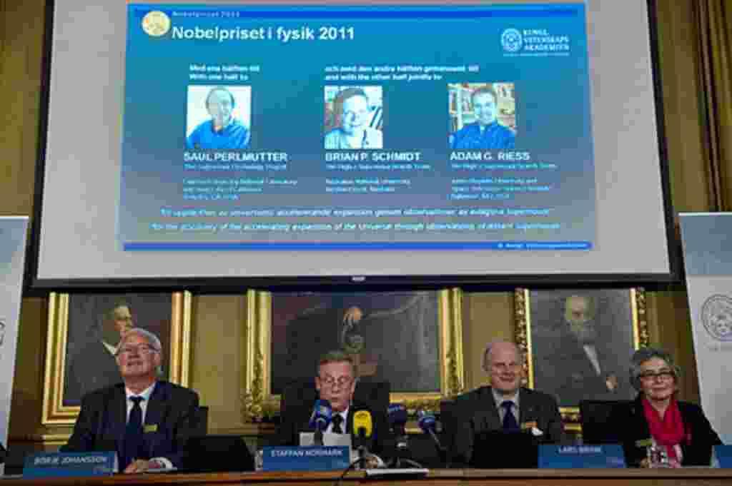 """El Premio Nobel de Física 2011 fue otorgado a tres científicos nacidos en Estados Unidos, """"por el descubrimiento de la expansión acelerada del universo a través de observaciones de supernovas distantes""""."""