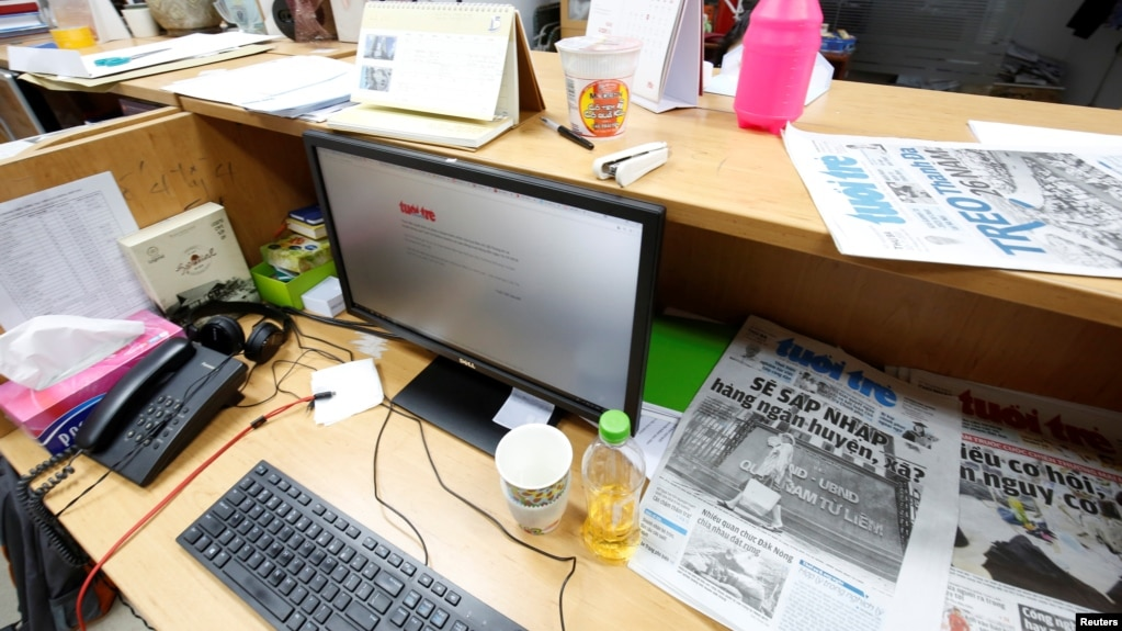 A computer screen shows the banned online edition of Tuoi Tre newspaper at the newspaper's office in Hanoi, Vietnam, July 17, 2018.