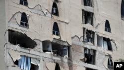 2017年9月19日,墨西哥城发生地震。图为遭到地震破坏的楼房。