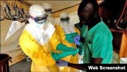 Petugas kesehatan Arab Saudi melakukan tes atas beberapa sampel pasien yang diduga menderita ebola (9/8).