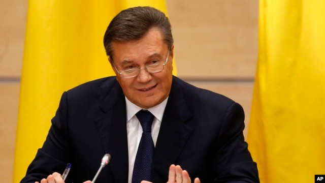 Ukraine's fugitive President Viktor Yanukovych gives a news conference in Rostov-on-Don, Friday, Feb. 28, 2014