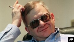 FILE - Writer Tom Clancy pictured at his home in Calvert County, Maryland.