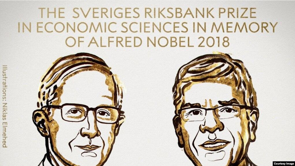 Khôi nguyên Giải Nobel Kinh tế 2018: William D. Nordhaus và Paul M. Romer.
