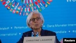 国际货币基金组织总裁拉加德在印度尼西亚巴厘岛该组织与世界银行的年度会议上讲话。(2018年10月11日)