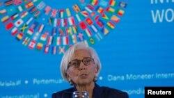 国际货币基金组织总裁拉加德2018年10月11日在印尼巴厘岛见记者(路透社)