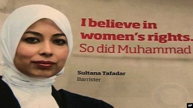 Poster in London subway is part of campaign to improve image of Muslims in Britain