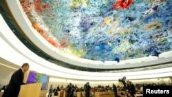 3일 스위스 제네바의 유엔본부에서 유엔 인권이사회 제25차 정기회의가 시작된 가운데, 세르게이 라브로프 러시아 외무 장관이 연설하고 있다.