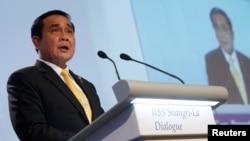 3일 싱가포르에서 개막한 2016 아시아안보회의에서 프라윳 찬-오차 태국 총리가 기조연설을 하고 있다.