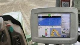 A GPS unit inside a tractor on a farm in Tallula, Illinois