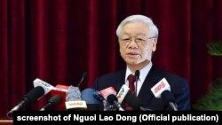Tổng bí thư Nguyễn Phú Trọng phát biểu tại Hội nghị Trung ương 7, tháng 5/2018