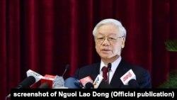 """Tổng bí thư Nguyễn Phú Trọng """"đang đi đầu"""" trong cuộc chiến chống tham nhũng."""