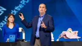 Intel CEO Brian Krzanich is seen speaking at the 2014 International Consumer Electronics Show in Las Vegas.