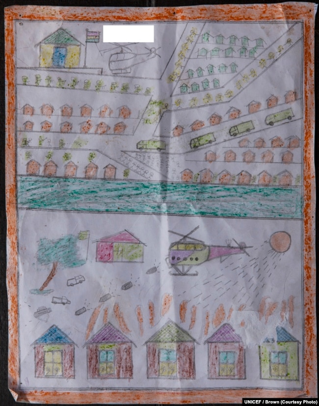 Drawing by a Rohingya boy, Kashem, revealing horrific experiences he endured while fleeing from Myanmar to Bangladesh.
