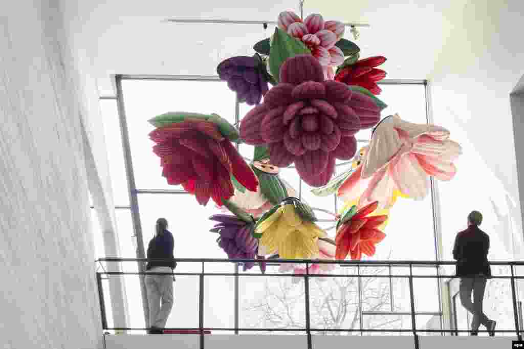 Korean artist Choi Jeong Hwa's work 'Flower Chandelier' is on display in his exhibition 'Happy Together' at the Museum of Contemporary Art Kiasma in Helsinki, Finland.