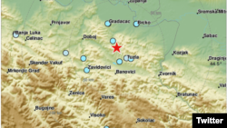 Lokacija epicetra potresa 16 kilometara od Tuzle, u istočnoj Bosni, u Bosni i Hercegovini, prema sajtu EMSC, 21. jula 2019.