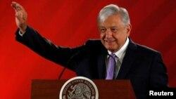 El presidente de México, Andrés Manuel López Obrador, durante una conferencia de prensa en Ciudad de México el 22 de febrero de 2019.