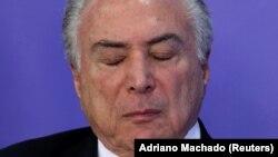Presidente do Brasil, Michel Temer, numa cerimónia no Palácio do Planalto em Brasília. Brasil