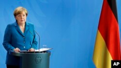 FILE - German Chancellor Angela Merkel addresses the media in Berlin, July 23, 2016. A drubbing in the eastern state of Mecklenburg-Vorpommern two weeks ago triggered calls from Merkel's conservative allies in Bavaria to toughen up her migrant policy.