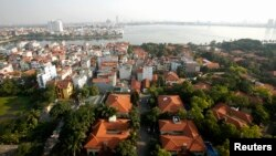 An aerial view shows West Lake and its surroundings in Hanoi, Dec. 18, 2014.