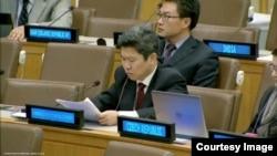 유엔주재 북한대표부의 리성철 참사관이 14일 유엔총회 제3위원회 회의에서 발언하고 있다.