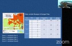 Data Jumlah Buaya di Sungai Palu, yang disampaikan oleh DR. Ir. Fadly Y. Tantu, akademisi dari Universitas Tadulako. Rabu (23/11/2020), dalam tangkapan layar.