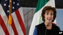 L'ambassadrice des Etats-Unis au Mexique, Roberta Jacobson, lors de l'inauguration de la nouvelle ambassade des Etats-Unis à Mexico, 13 février 2018.
