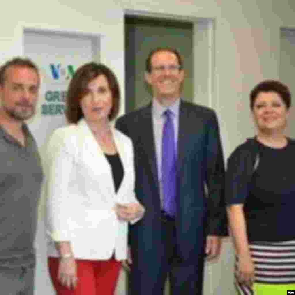 During the farewell party, (from left to right) VOA Greek staff Dimitirs Manis, Anna Morris, BBG Governor Matt Armstrong, and Zoe Leoudaki.