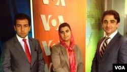 سه دپلمات افغان شرکت کننده در برنامه آموزشی دپلمات های جوان در واشنگتن دی سی - عکس در دفتر مرکزی صدای امریکا