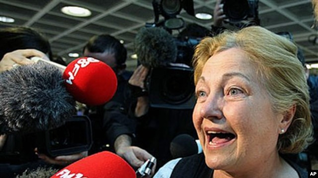 Former Nobel Peace Prize laureate Mairead Maguire speaks to the media as she arrives back at Ireland's Dublin Airport, in June 2010 (file photo)