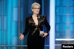 Actress Meryl Streep accepts the Cecil B. DeMille Award during the 74th Annual Golden Globe Awards show in Beverly Hills, California, Jan. 8, 2017.