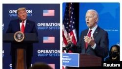 ប្រធានាធិបតីសហរដ្ឋអាមេរិកលោក Donald Trump (ឆ្វេង) ថ្លែងសុន្ទរកថាអំពីគម្រោងចែកចាយវ៉ាក់សាំងរបស់លោក និងលោក Joe Biden (ស្ដាំ) ប្រធានាធិបតីជាប់ឆ្នោតសហរដ្ឋអាមេរិក ប្រកាសសមាសភាពក្រុមការងារសុខាភិបាលរបស់លោក។