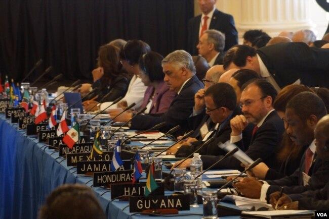 Cancilleres y representantes de los países de la OEA analizan la crisis venezolana.