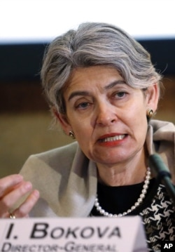 UNESCO chief Irina Bokova denounces Islamic State militants' purported attacks on Iraqi antiquities at a news conference in Paris, Feb. 27, 2015.